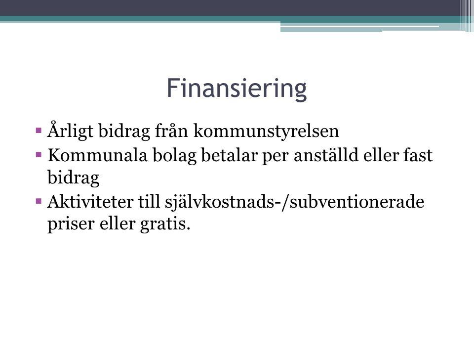 Finansiering  Årligt bidrag från kommunstyrelsen  Kommunala bolag betalar per anställd eller fast bidrag  Aktiviteter till självkostnads-/subventio