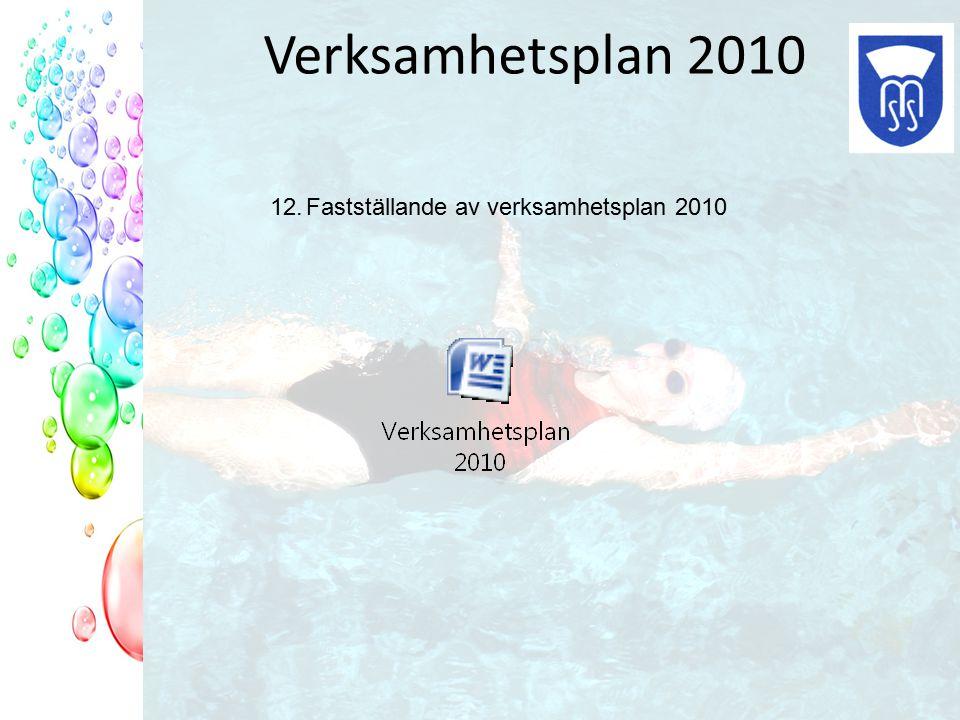 Verksamhetsplan 2010 12.Fastställande av verksamhetsplan 2010