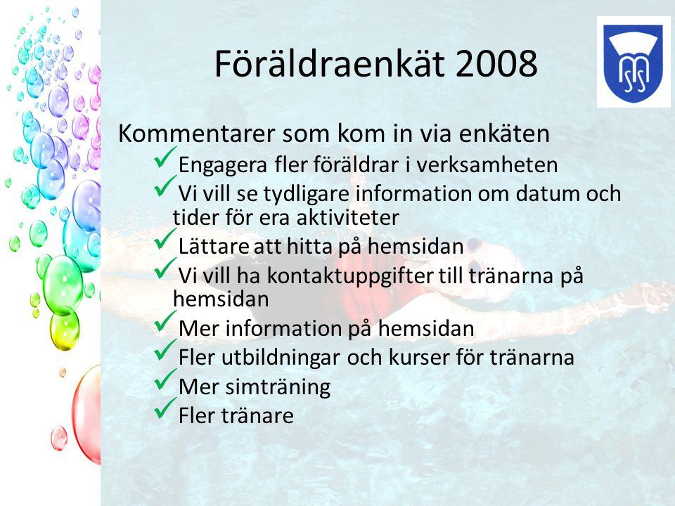 Föräldraenkät 2008 Kommentarer som kom in via enkäten Engagera fler föräldrar i verksamheten Vi vill se tydligare information om datum och tider för e