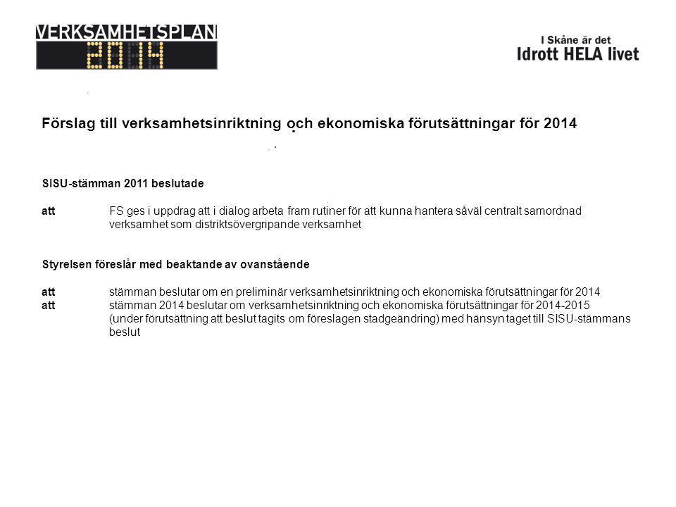 Förslag till verksamhetsinriktning och ekonomiska förutsättningar för 2014 SISU-stämman 2011 beslutade attFS ges i uppdrag att i dialog arbeta fram rutiner för att kunna hantera såväl centralt samordnad verksamhet som distriktsövergripande verksamhet Styrelsen föreslår med beaktande av ovanstående attstämman beslutar om en preliminär verksamhetsinriktning och ekonomiska förutsättningar för 2014 attstämman 2014 beslutar om verksamhetsinriktning och ekonomiska förutsättningar för 2014-2015 (under förutsättning att beslut tagits om föreslagen stadgeändring) med hänsyn taget till SISU-stämmans beslut