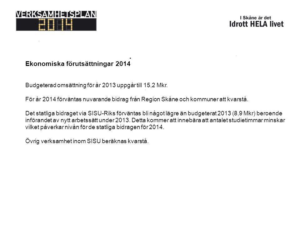 Ekonomiska förutsättningar 2014 Budgeterad omsättning för år 2013 uppgår till 15,2 Mkr. För år 2014 förväntas nuvarande bidrag från Region Skåne och k