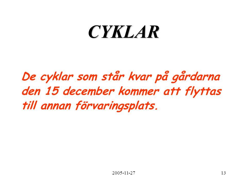2005-11-2713 CYKLAR De cyklar som står kvar på gårdarna den 15 december kommer att flyttas till annan förvaringsplats.