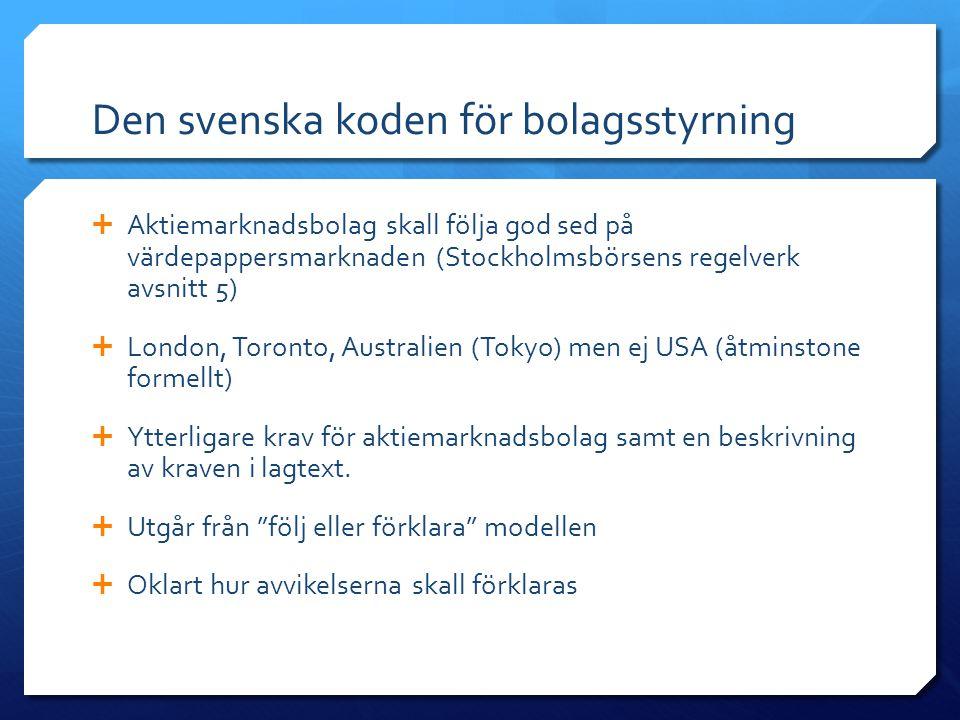Den svenska koden för bolagsstyrning  Aktiemarknadsbolag skall följa god sed på värdepappersmarknaden (Stockholmsbörsens regelverk avsnitt 5)  London, Toronto, Australien (Tokyo) men ej USA (åtminstone formellt)  Ytterligare krav för aktiemarknadsbolag samt en beskrivning av kraven i lagtext.