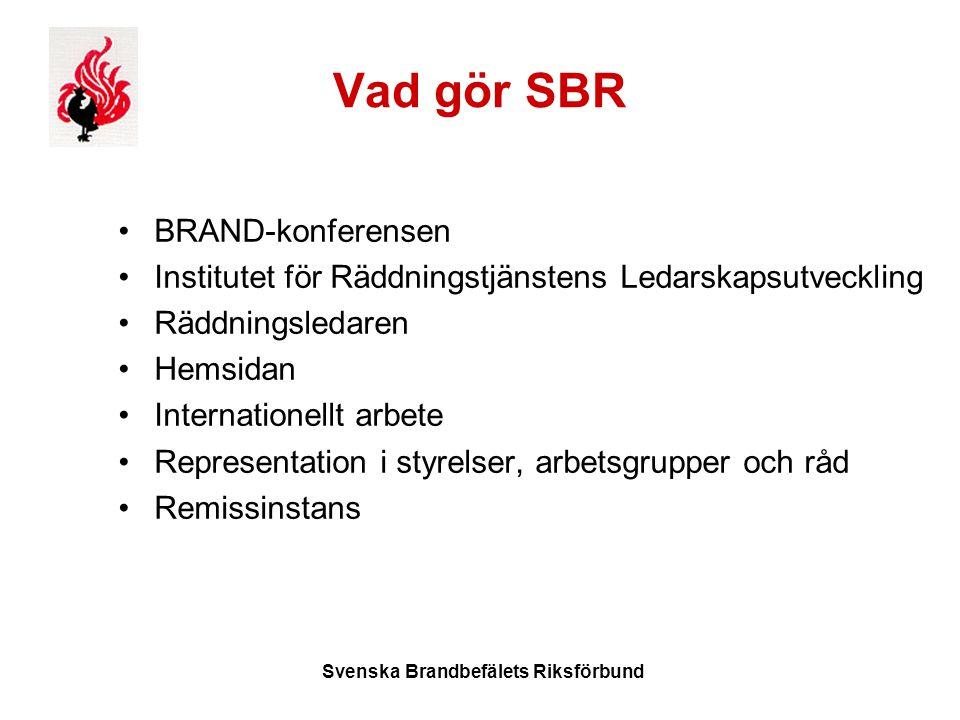 Svenska Brandbefälets Riksförbund Vad gör SBR BRAND-konferensen Institutet för Räddningstjänstens Ledarskapsutveckling Räddningsledaren Hemsidan Internationellt arbete Representation i styrelser, arbetsgrupper och råd Remissinstans