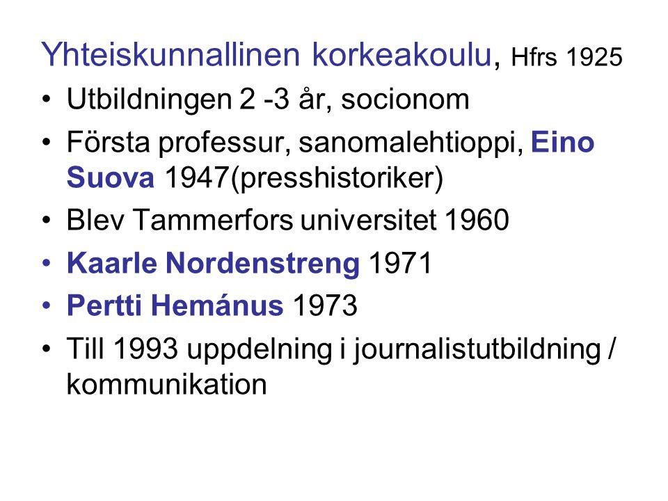 Yhteiskunnallinen korkeakoulu, Hfrs 1925 Utbildningen 2 -3 år, socionom Första professur, sanomalehtioppi, Eino Suova 1947(presshistoriker) Blev Tammerfors universitet 1960 Kaarle Nordenstreng 1971 Pertti Hemánus 1973 Till 1993 uppdelning i journalistutbildning / kommunikation