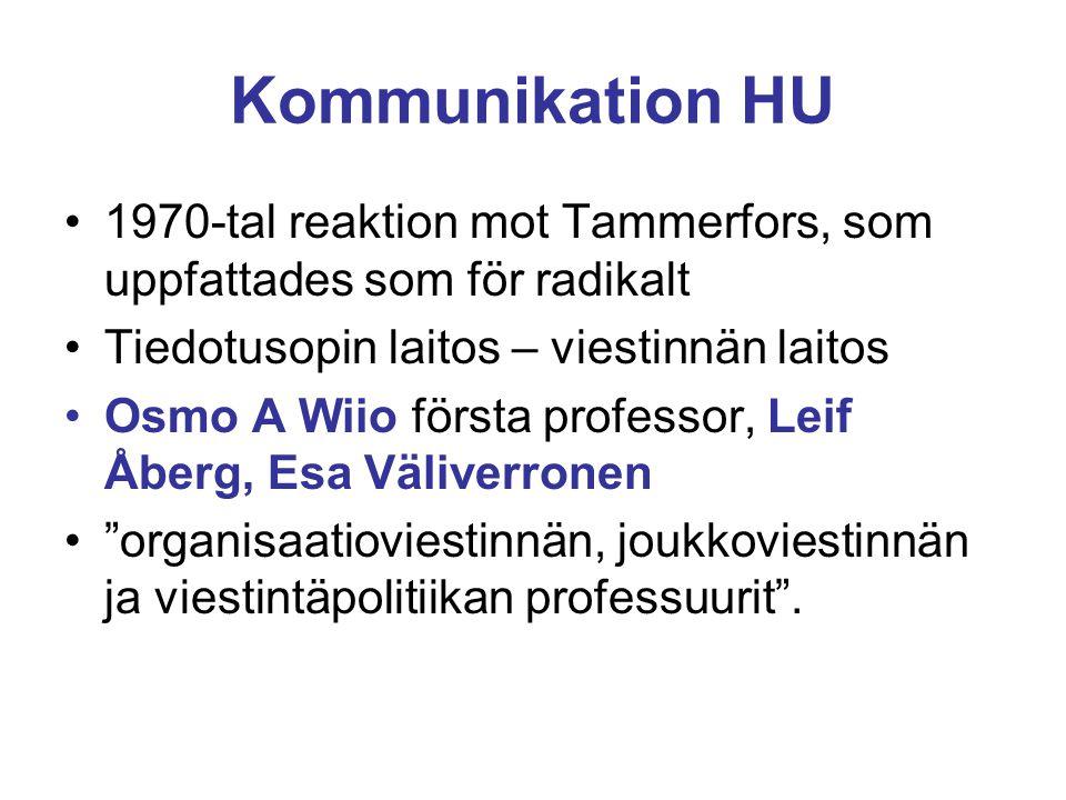 Kommunikation HU 1970-tal reaktion mot Tammerfors, som uppfattades som för radikalt Tiedotusopin laitos – viestinnän laitos Osmo A Wiio första professor, Leif Åberg, Esa Väliverronen organisaatioviestinnän, joukkoviestinnän ja viestintäpolitiikan professuurit .
