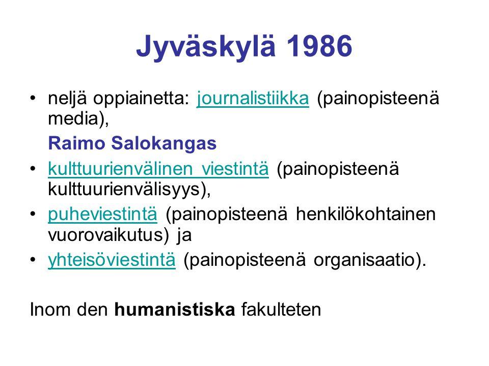 Jyväskylä 1986 neljä oppiainetta: journalistiikka (painopisteenä media),journalistiikka Raimo Salokangas kulttuurienvälinen viestintä (painopisteenä kulttuurienvälisyys),kulttuurienvälinen viestintä puheviestintä (painopisteenä henkilökohtainen vuorovaikutus) japuheviestintä yhteisöviestintä (painopisteenä organisaatio).yhteisöviestintä Inom den humanistiska fakulteten