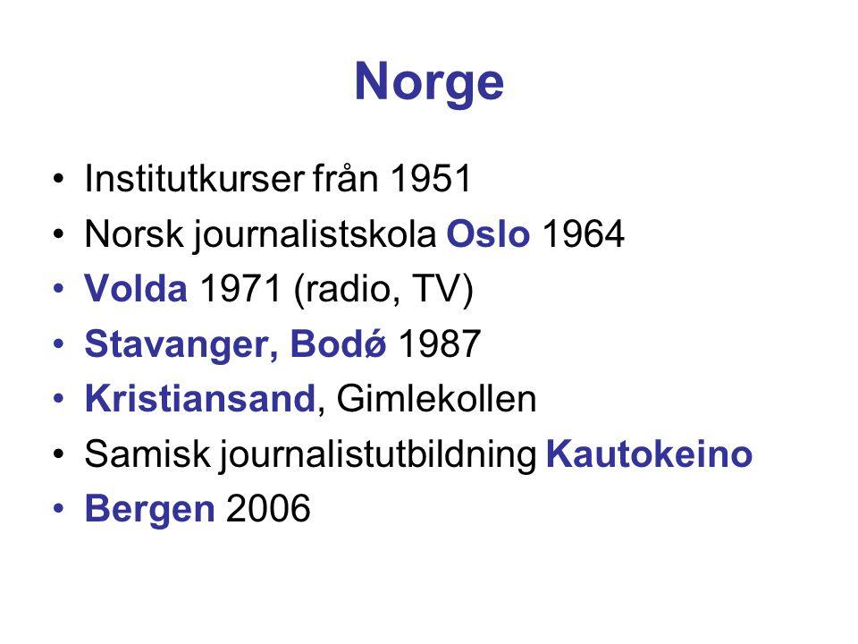 Norge Institutkurser från 1951 Norsk journalistskola Oslo 1964 Volda 1971 (radio, TV) Stavanger, Bodǿ 1987 Kristiansand, Gimlekollen Samisk journalistutbildning Kautokeino Bergen 2006