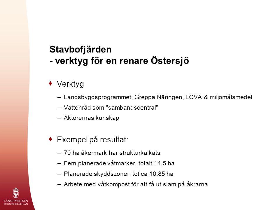 Stavbofjärden - verktyg för en renare Östersjö  Verktyg –Landsbygdsprogrammet, Greppa Näringen, LOVA & miljömålsmedel –Vattenråd som sambandscentral –Aktörernas kunskap  Exempel på resultat: –70 ha åkermark har strukturkalkats –Fem planerade våtmarker, totalt 14,5 ha –Planerade skyddszoner, tot ca 10,85 ha –Arbete med våtkompost för att få ut slam på åkrarna