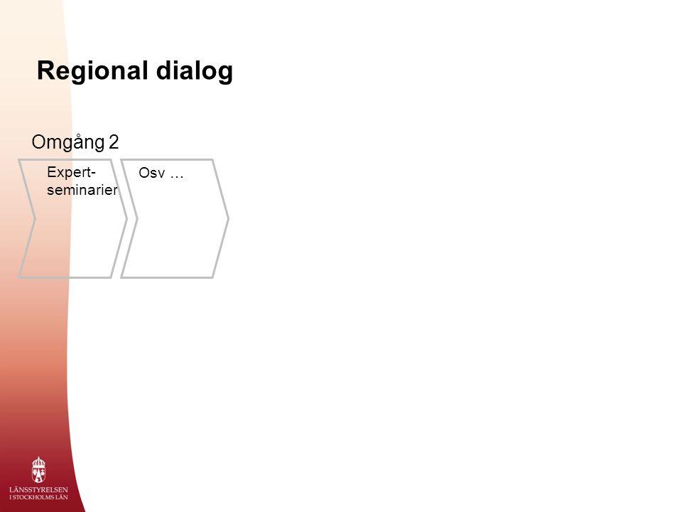 Regional dialog Expert- seminarier Osv … Omgång 2