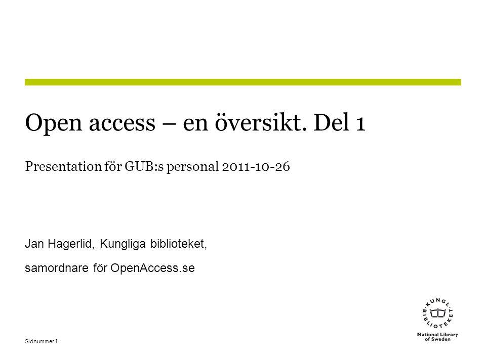 Sidnummer1 Open access – en översikt.