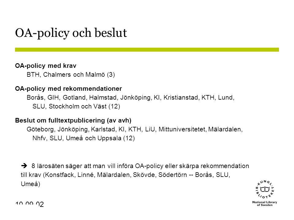 Sidnummer 10-09-02 OA-policy och beslut OA-policy med krav BTH, Chalmers och Malmö (3) OA-policy med rekommendationer Borås, GIH, Gotland, Halmstad, Jönköping, KI, Kristianstad, KTH, Lund, SLU, Stockholm och Väst (12) Beslut om fulltextpublicering (av avh) Göteborg, Jönköping, Karlstad, KI, KTH, LiU, Mittuniversitetet, Mälardalen, Nhfv, SLU, Umeå och Uppsala (12)  8 lärosäten säger att man vill införa OA-policy eller skärpa rekommendation till krav (Konstfack, Linné, Mälardalen, Skövde, Södertörn -- Borås, SLU, Umeå)