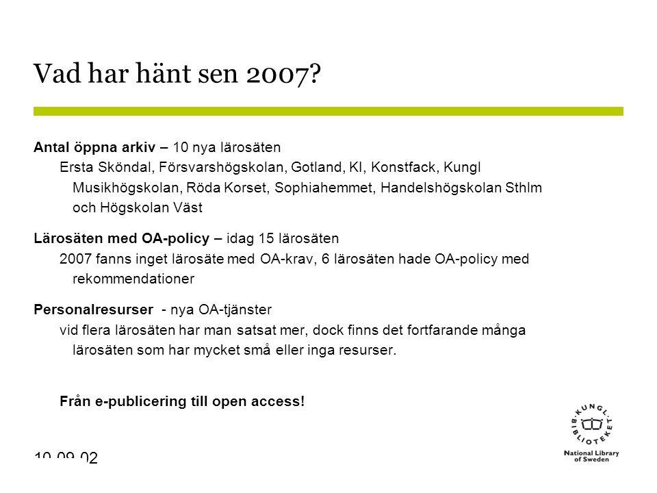 Sidnummer 10-09-02 Vad har hänt sen 2007.