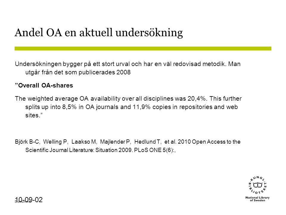 Sidnummer 10-09-02 Fördelning på Gold – publicerat i OA-tidskrift – och Green – parallellpublicerat – för olika ämnen