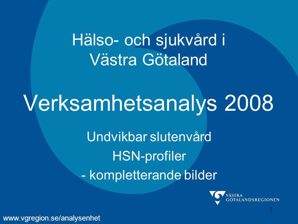 1 Hälso- och sjukvård i Västra Götaland Verksamhetsanalys 2008 Undvikbar slutenvård HSN-profiler - kompletterande bilder www.vgregion.se/analysenhet
