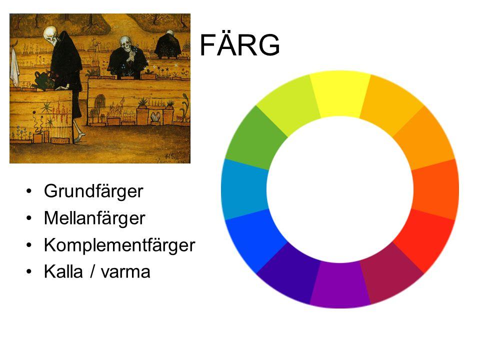 FÄRG Grundfärger Mellanfärger Komplementfärger Kalla / varma