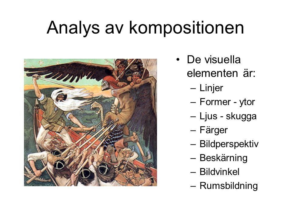 Analys av kompositionen De visuella elementen är: –Linjer –Former - ytor –Ljus - skugga –Färger –Bildperspektiv –Beskärning –Bildvinkel –Rumsbildning