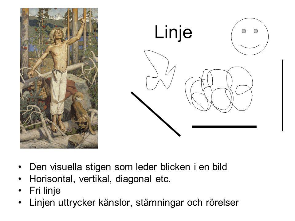 Linje Den visuella stigen som leder blicken i en bild Horisontal, vertikal, diagonal etc. Fri linje Linjen uttrycker känslor, stämningar och rörelser