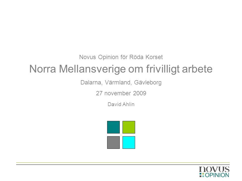 Novus Opinion för Röda Korset Norra Mellansverige om frivilligt arbete Dalarna, Värmland, Gävleborg 27 november 2009 David Ahlin