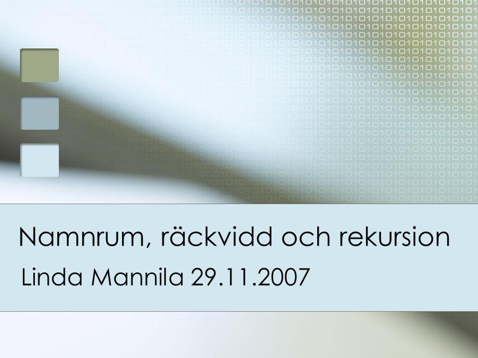 Namnrum, räckvidd och rekursion Linda Mannila 29.11.2007