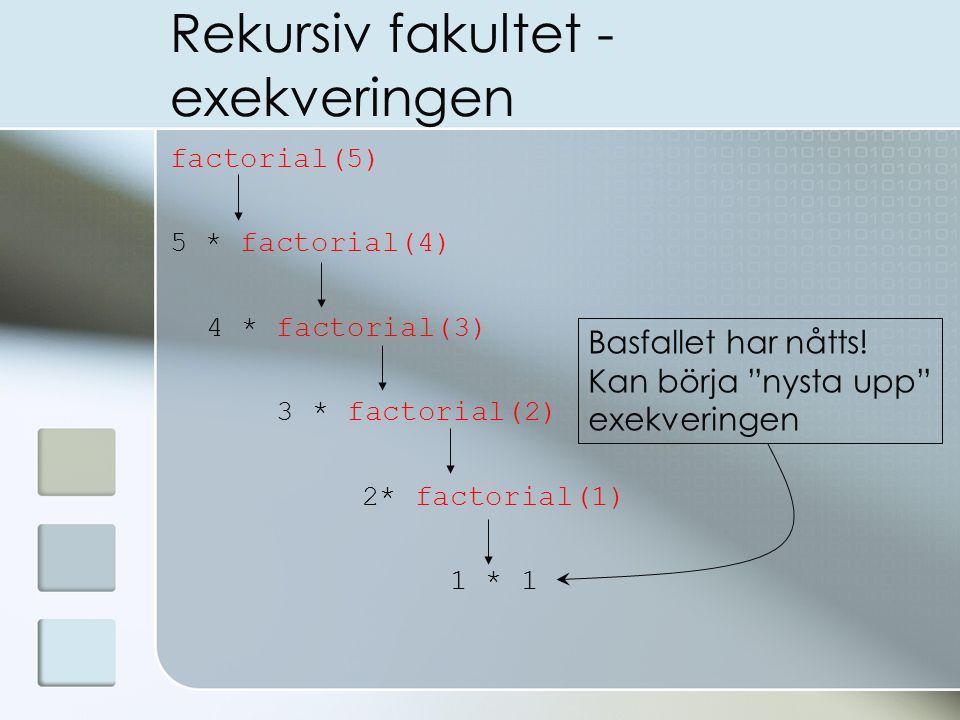 Rekursiv fakultet - exekveringen factorial(5) 5 * factorial(4) 4 * factorial(3) 3 * factorial(2) 2* factorial(1) 1 * 1 Basfallet har nåtts.