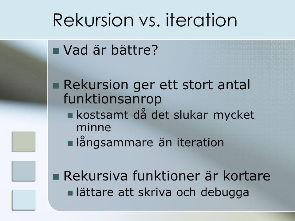 Rekursion vs. iteration Vad är bättre.