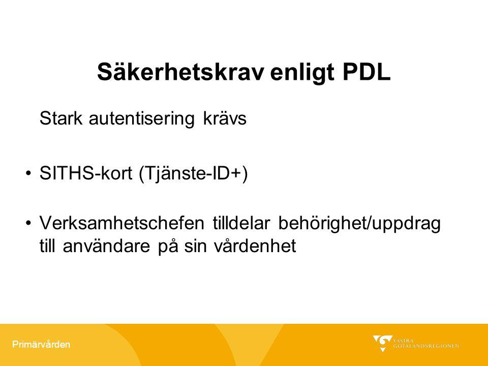 Primärvården Säkerhetskrav enligt PDL Stark autentisering krävs SITHS-kort (Tjänste-ID+) Verksamhetschefen tilldelar behörighet/uppdrag till användare