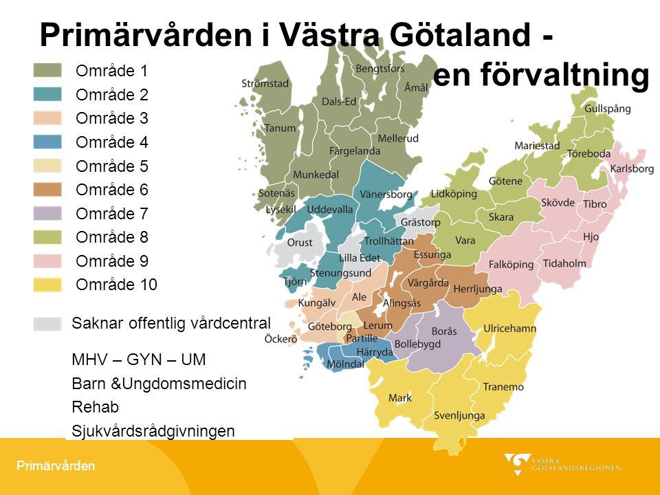 Primärvården Primärvården i Västra Götaland - Område 1 Område 2 Område 3 Område 4 Område 5 Område 6 Område 7 Område 8 Område 9 Område 10 MHV – GYN – U
