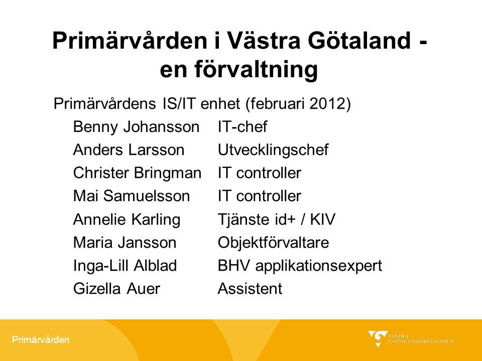 Primärvården Primärvården i Västra Götaland - en förvaltning Primärvårdens IS/IT enhet (februari 2012) Benny JohanssonIT-chef Anders LarssonUtveckling