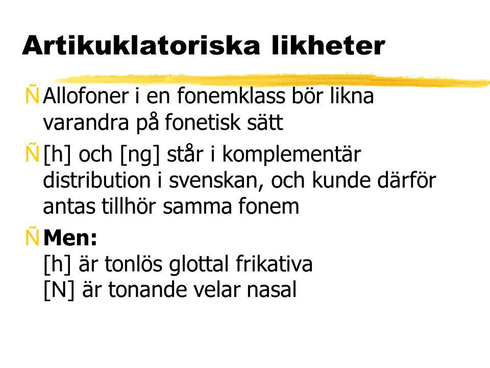 Artikuklatoriska likheter ÑAllofoner i en fonemklass bör likna varandra på fonetisk sätt Ñ[h] och [ng] står i komplementär distribution i svenskan, oc