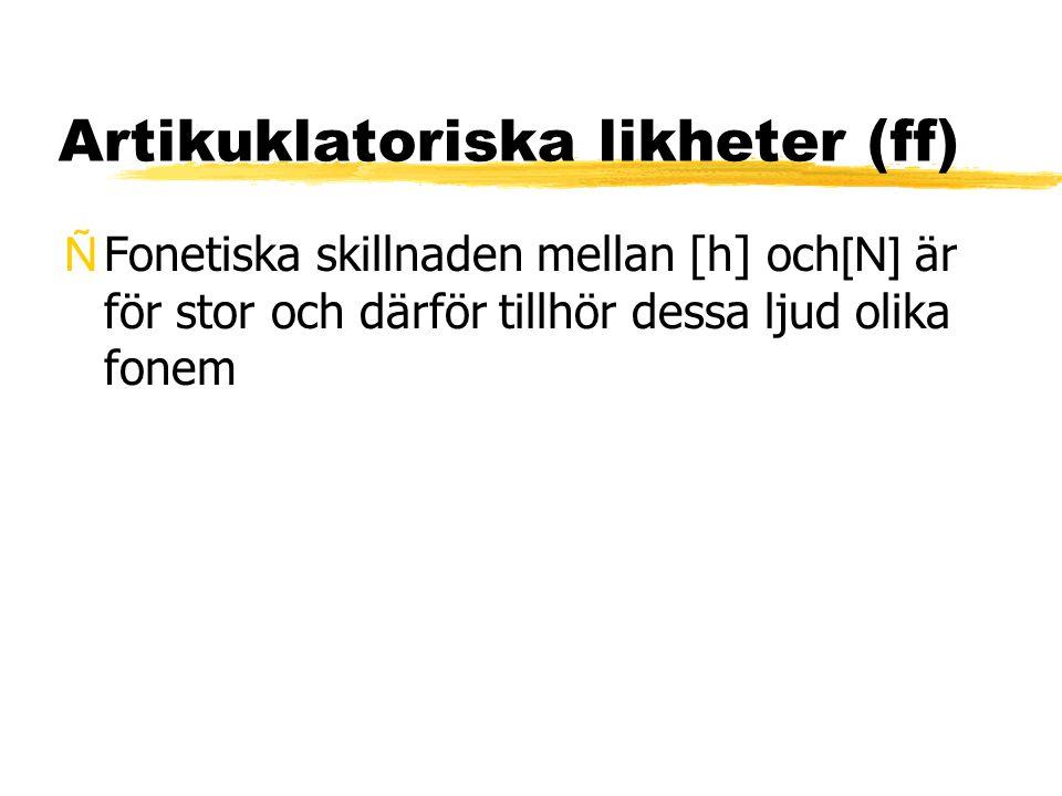 Artikuklatoriska likheter (ff)  Fonetiska skillnaden mellan [h] och [N] är för stor och därför tillhör dessa ljud olika fonem