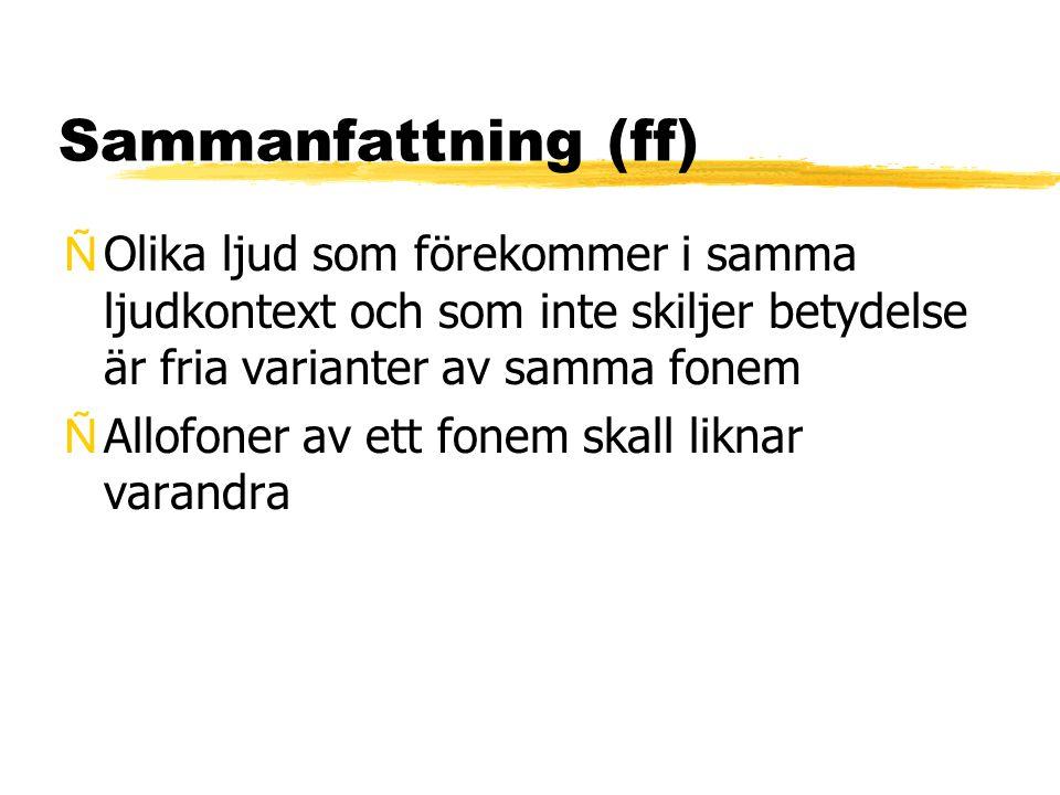 Sammanfattning (ff) ÑOlika ljud som förekommer i samma ljudkontext och som inte skiljer betydelse är fria varianter av samma fonem ÑAllofoner av ett f