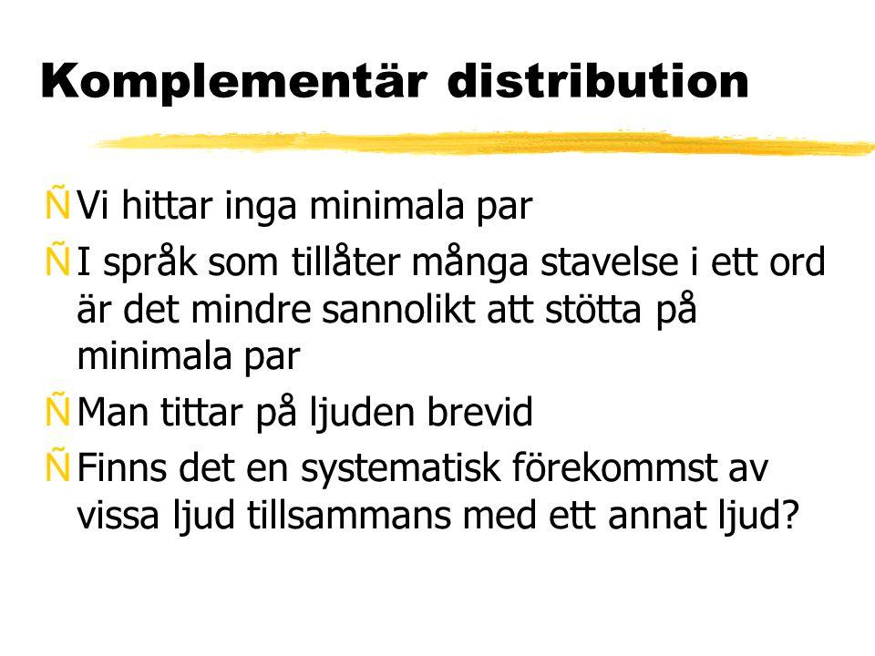 Komplementär distribution (ff) ÑI svenskan: inga minimala par för orundade främre halvöppna vokaler, som skiljer sig i öppningsgraden ÑMen: den mer öppna varianten förekommer bara ett efterföljandet /r/- fonem