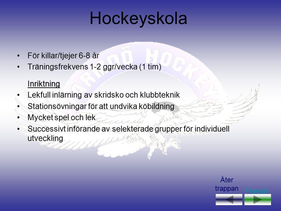 Hockeyskola För killar/tjejer 6-8 år Träningsfrekvens 1-2 ggr/vecka (1 tim)Inriktning Lekfull inlärning av skridsko och klubbteknik Stationsövningar f