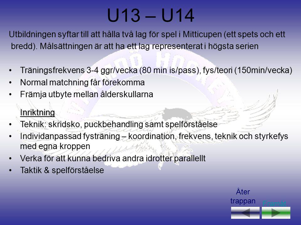 U15 – U16 Utbildningen syftar till att ha ett lag, i respektive åldersgrupp, som har som mål att spela/kvalificera sig till spel i högsta serien Finns underlag kan flera lag i respektive åldersgrupp finnas, i såfall delas lagen efter kunskapsnivå Träningsfrekvens 4-5 ggr/vecka( 80 min is/pass), fys/teori (150min/vecka) Matchning får förekomma Träningsvilja skall premieras Främja utbyte mellan ålderskullarnaInriktning Utökad teknik, puckbehandling i hög hastighet, anfall & försvar Individanpassad fysträning – styrka, kondition, acceleration, mjölksyra Skridskor – frekvens, reaktion Taktik & spelförståelse Framåt Åter trappan