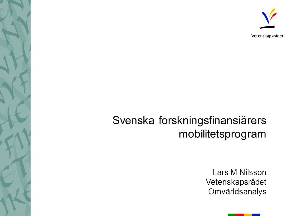 Svenska forskningsfinansiärers mobilitetsprogram Lars M Nilsson Vetenskapsrådet Omvärldsanalys