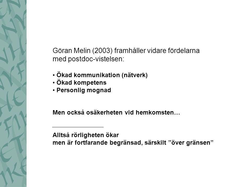 Göran Melin (2003) framhåller vidare fördelarna med postdoc-vistelsen: Ökad kommunikation (nätverk) Ökad kompetens Personlig mognad Men också osäkerhe