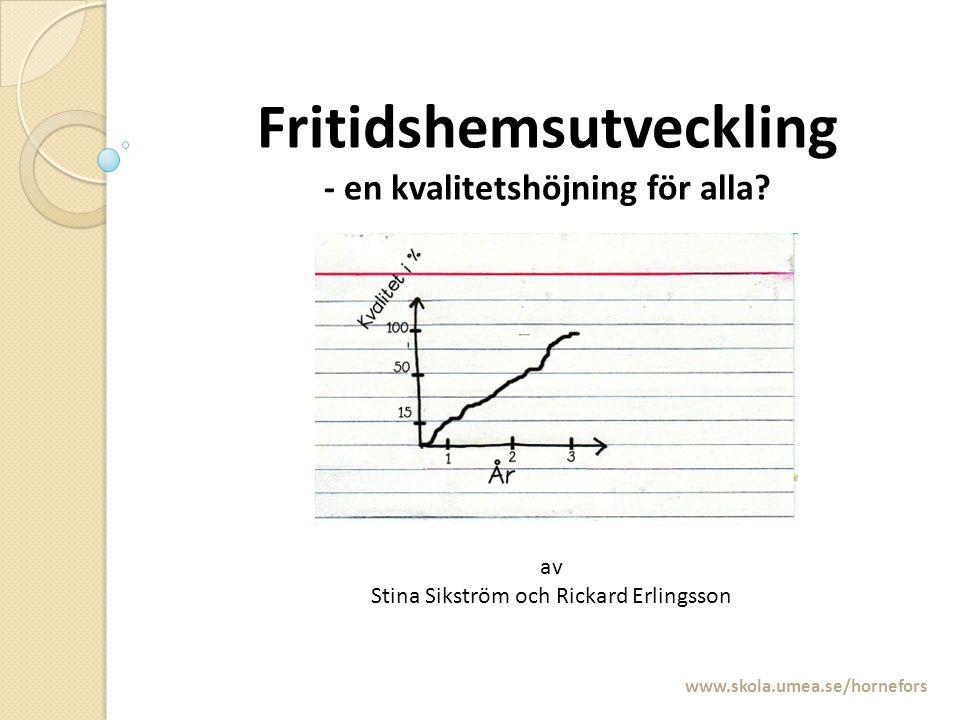 Fritidshemsutveckling - en kvalitetshöjning för alla? www.skola.umea.se/hornefors av Stina Sikström och Rickard Erlingsson