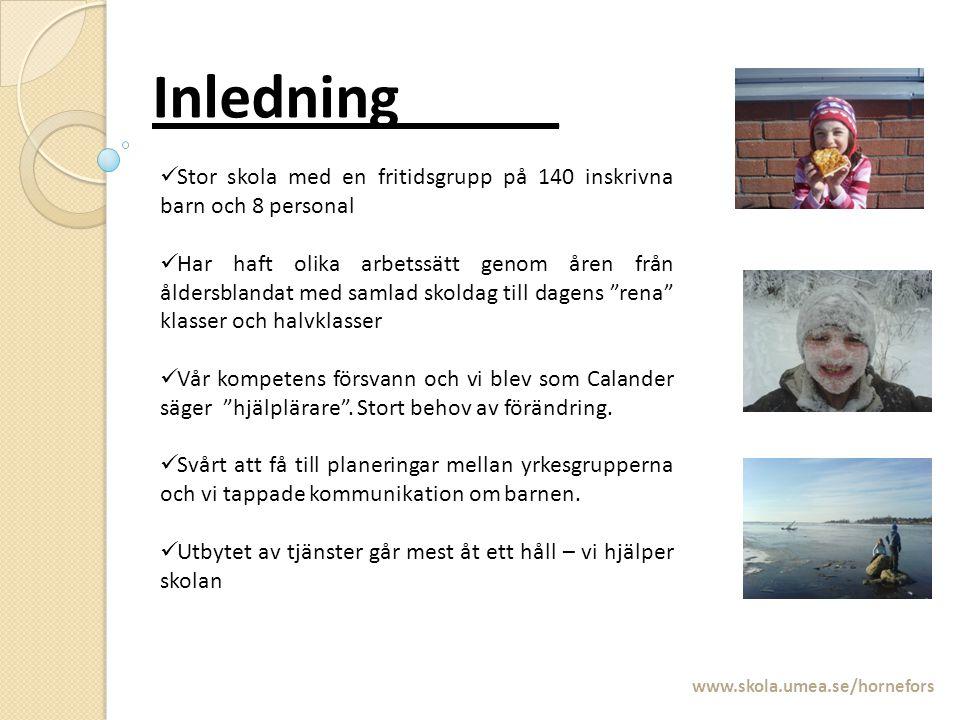 Inledning_____ www.skola.umea.se/hornefors Stor skola med en fritidsgrupp på 140 inskrivna barn och 8 personal Har haft olika arbetssätt genom åren fr