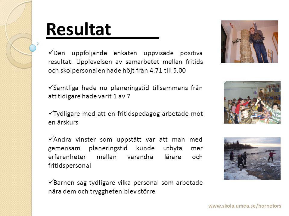 Resultat_____ www.skola.umea.se/hornefors Den uppföljande enkäten uppvisade positiva resultat. Upplevelsen av samarbetet mellan fritids och skolperson