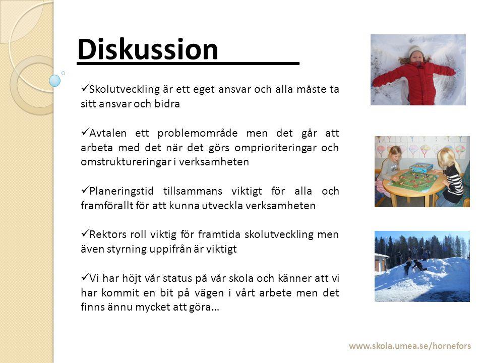 Diskussion_____ www.skola.umea.se/hornefors Skolutveckling är ett eget ansvar och alla måste ta sitt ansvar och bidra Avtalen ett problemområde men de