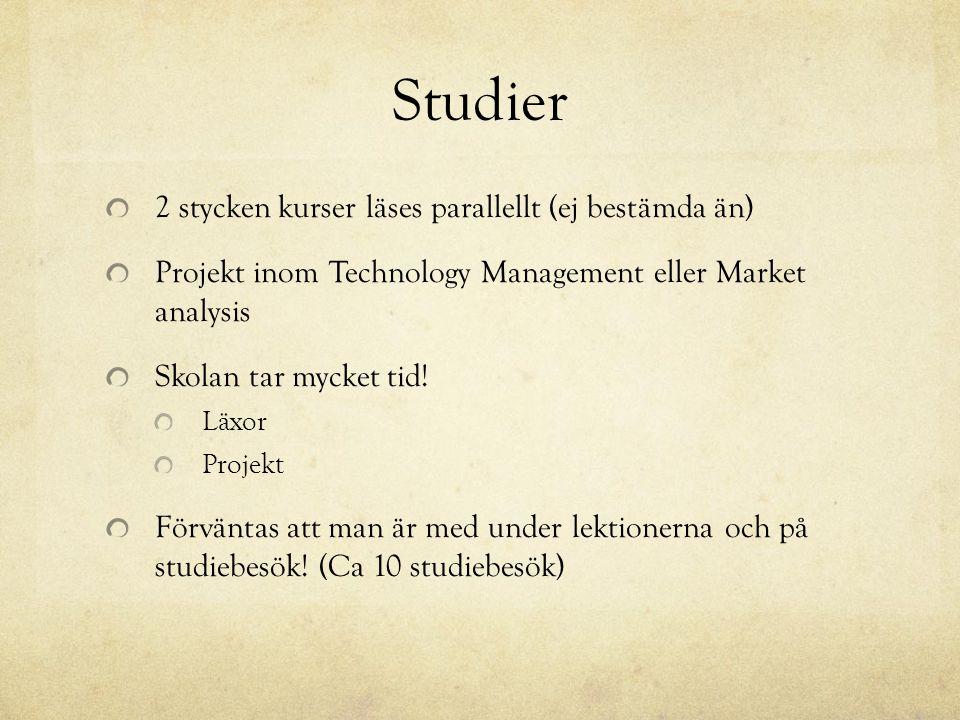 Studier 2 stycken kurser läses parallellt (ej bestämda än) Projekt inom Technology Management eller Market analysis Skolan tar mycket tid! Läxor Proje