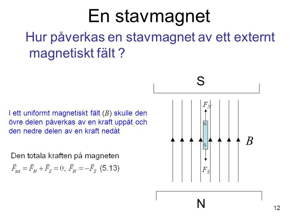 Fk3002 Kvantfysikes grunder12 En stavmagnet Hur påverkas en stavmagnet av ett externt magnetiskt fält .