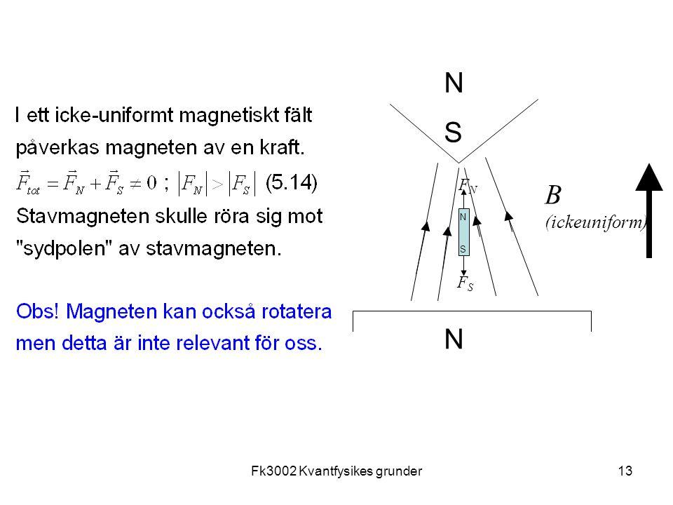 Fk3002 Kvantfysikes grunder13 N N B (ickeuniform) FNFN S S N FSFS