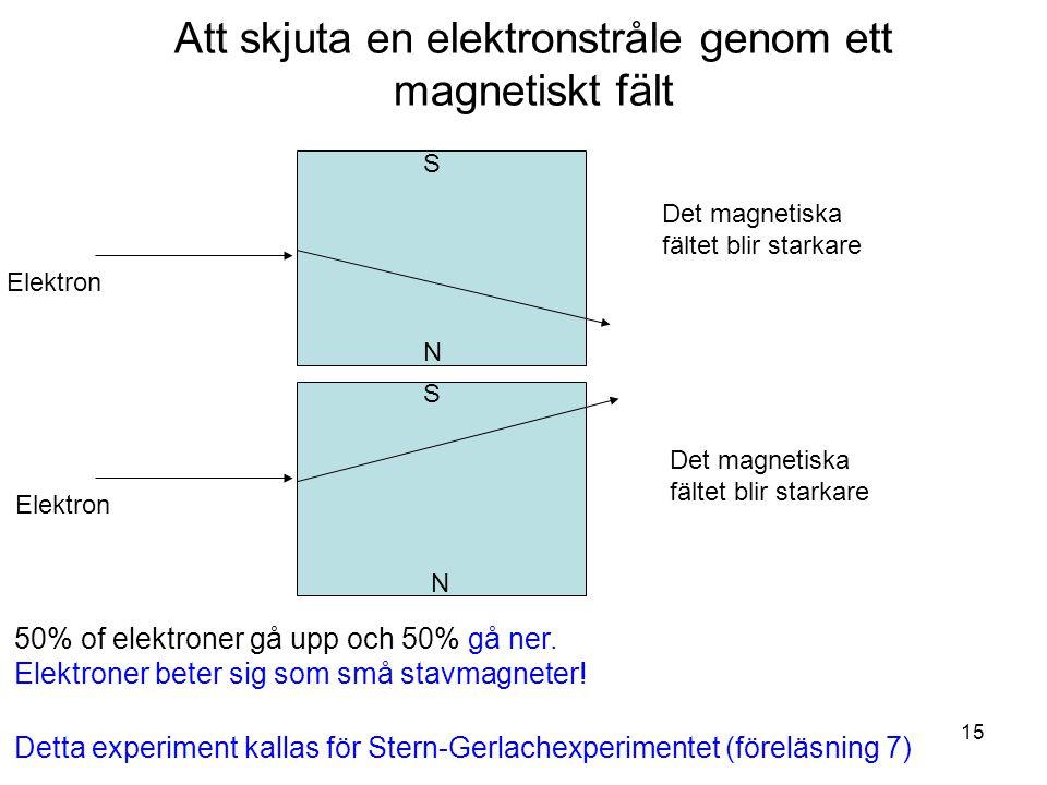 Fk3002 Kvantfysikes grunder15 Det magnetiska fältet blir starkare S N S N Att skjuta en elektronstråle genom ett magnetiskt fält 50% of elektroner gå upp och 50% gå ner.