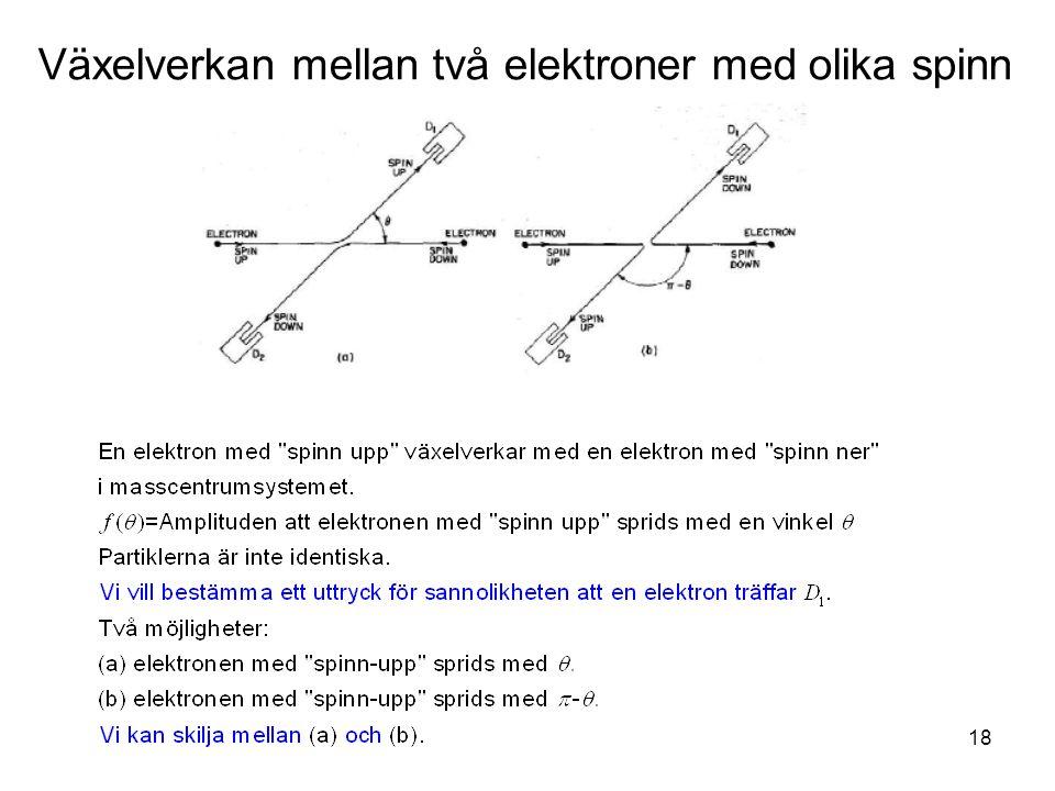 Fk3002 Kvantfysikes grunder18 Växelverkan mellan två elektroner med olika spinn