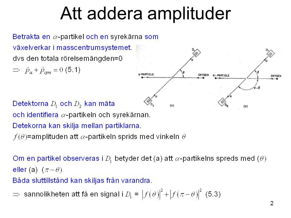 Fk3002 Kvantfysikes grunder2 Att addera amplituder