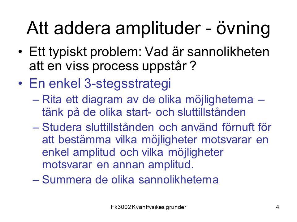 4 Att addera amplituder - övning Ett typiskt problem: Vad är sannolikheten att en viss process uppstår .