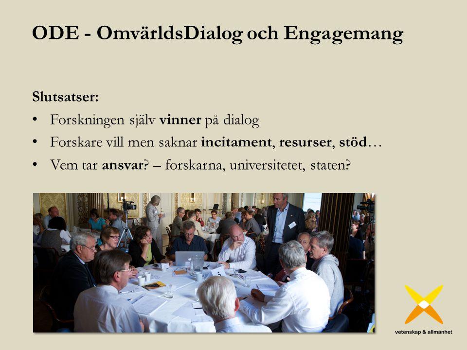 ODE - OmvärldsDialog och Engagemang Slutsatser: Forskningen själv vinner på dialog Forskare vill men saknar incitament, resurser, stöd… Vem tar ansvar.
