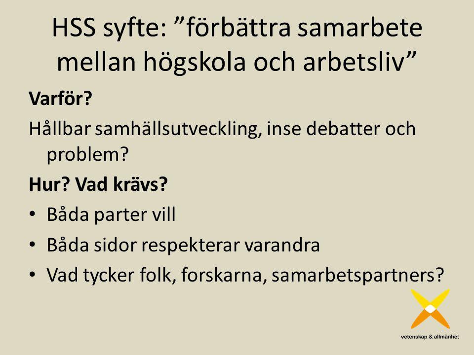 HSS syfte: förbättra samarbete mellan högskola och arbetsliv Varför.